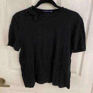 Zara Bow Neckline T-Shirt in Black